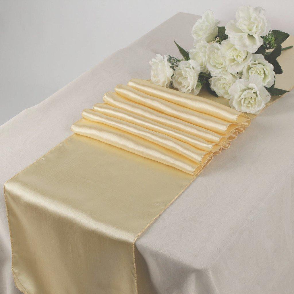 1サテン12 x 108インチテーブルランナー宴会ウェディングパーティー&イベント – ライトゴールド 1 Satin Table Runner Light Gold 1 ライトゴールド B01IA0X1HU