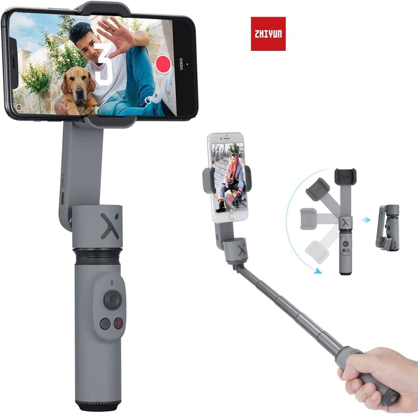 Zhiyun Smooth X 2-Axis Gimbal Stabilizer for iPhone 11 Pro Xs Max Xr X 8 Plus 7 6 SE Android Smartphone Samsung Galaxy Huawei Vivo Mobile Phone Handheld Selfie Stick Gimbal SmoothX Grey