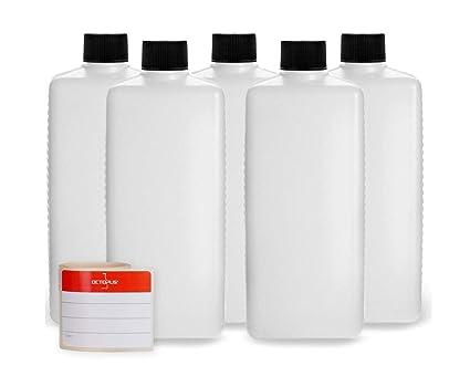 5 botellas de plástico de Octopus de 500 ml, botellas de plástico de HDPE con
