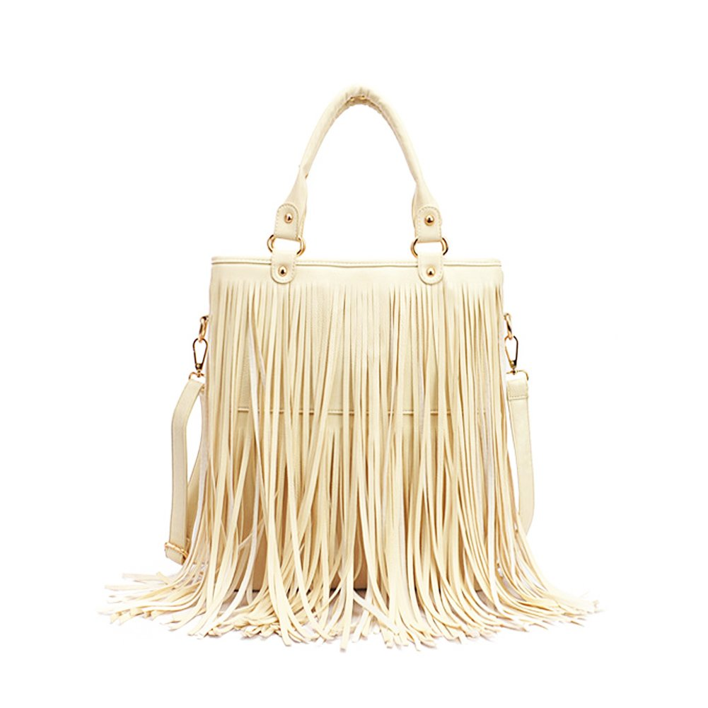 Amazon.com  Fashion Story Fringe Vintage Messenger Hobo Cross Body Shoulder  Top Handle Bag Summer Tassel Women (beige)  Baby 1dc24e8305cf4