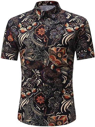 Camisas Hombre Manga Corta CFHC-S CKA Camisas Casual para ...