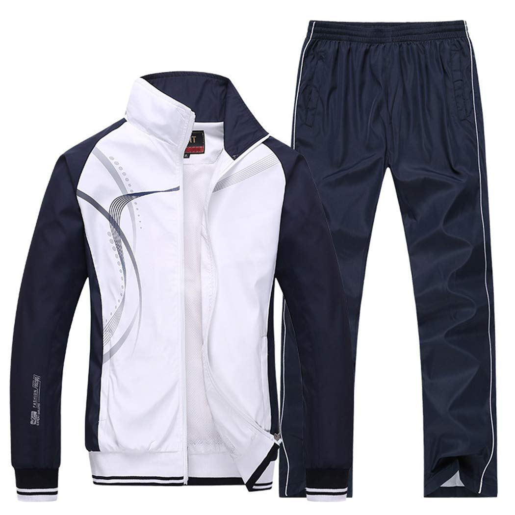 Modern Fantasy Men's Athletic Striped Tracksuit Joggers Running Sports Style Sweat Suits Set White M by Modern Fantasy