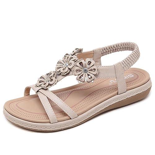 237ccc16295 Sandalias Planas Verano Mujer Estilo Bohemia Zapatos para Mujer de Dedo  Sandalias Talla Grande 34-