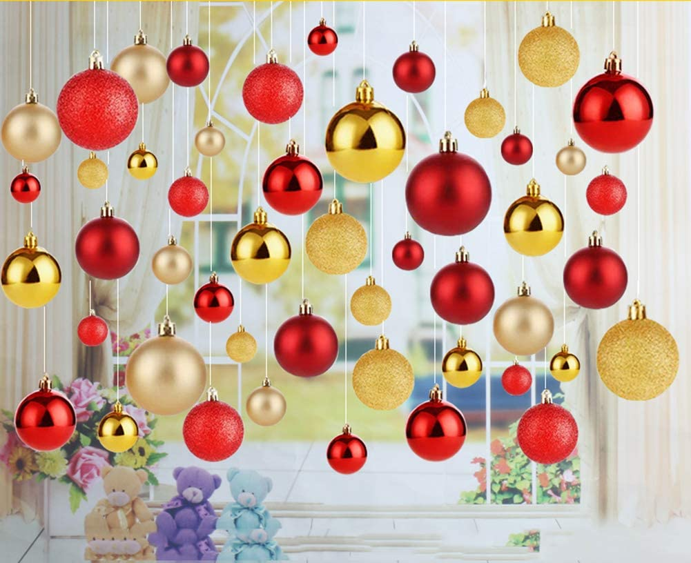 1.18, Coral RICHEE-NL 24ct Colorful Shatterproof Ball Ornaments for Christmas Tree and Wedding Party