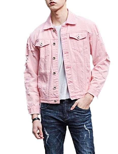 e9634205de HX fashion Men s Denim Jacket Turn Down Collar Long Comfortable Sizes Sleeve  Outerwear Ripped Single-