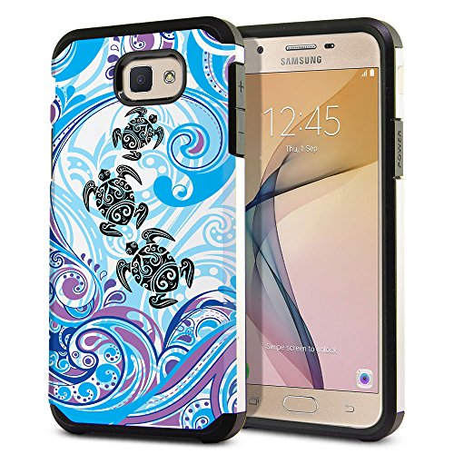 FINCIBO Case Compatible with Samsung Galaxy J5 Prime G570/ On5 2016 5 inch, Dual Layer Hard Back Hybrid Protector Case Cover TPU for Galaxy J5 Prime G570 (NOT FIT J5 2015) - Turtle with Blue Swirl
