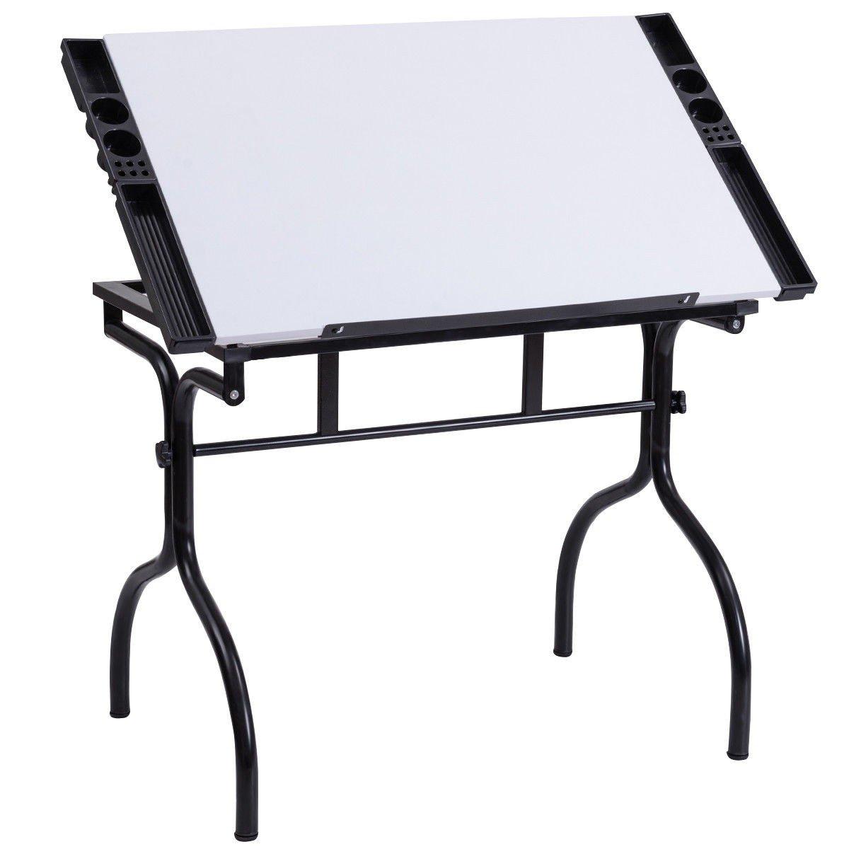 Custpromo Adjustable Drafting Table Art & Craft Drawing Desk Folding Drafting Desk