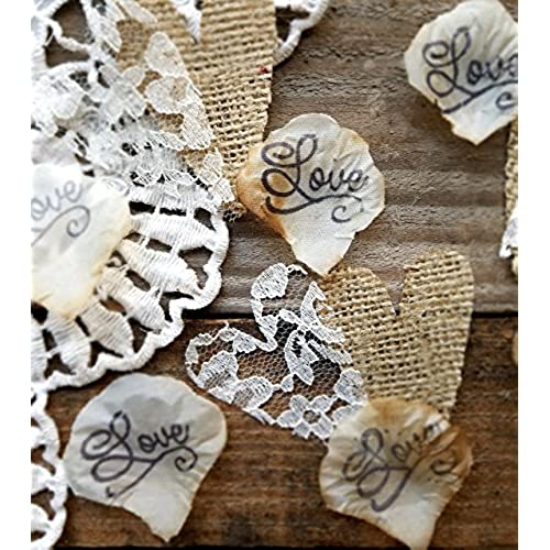 Rustic burlap wedding decor amazon burlap and lace silk rose petals rustic wedding confetti for table runner or aisle runner 150 pieces junglespirit Images