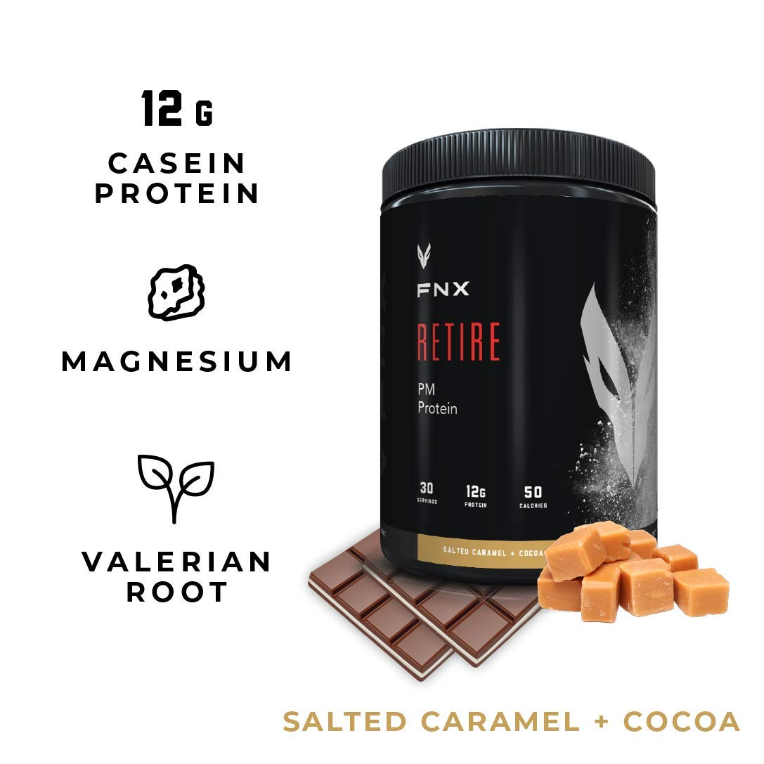 FNX Retire PM Casein Protein Powder with Melatonin, L-Theanine, and Valerian Root to Reduce Stress, Increase Recovery, Sleep, and Muscle Building Overnight, 12g of Protein, 30 Servings by FNX