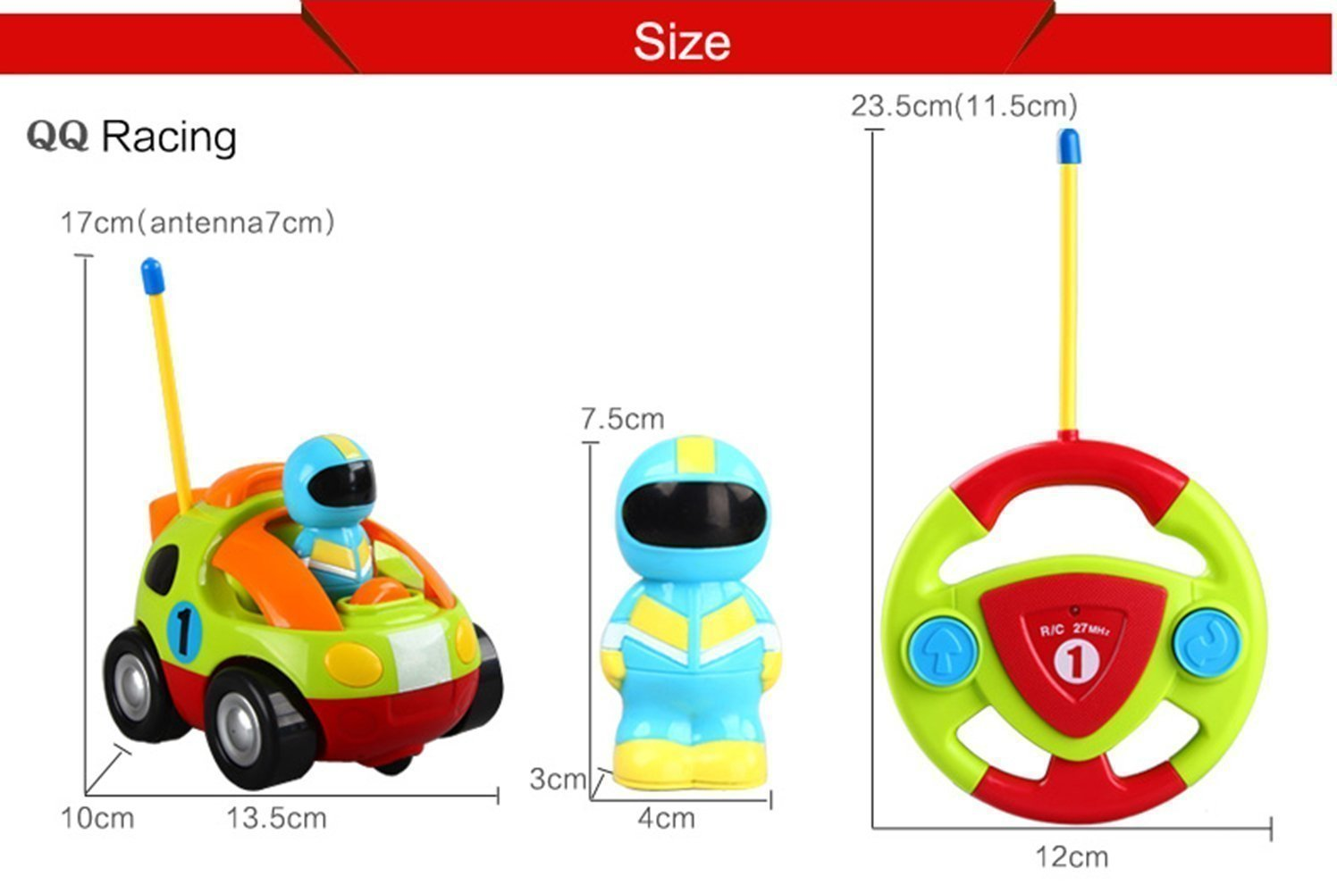 jakmean cartoon r c race car radio control toy for toddlers