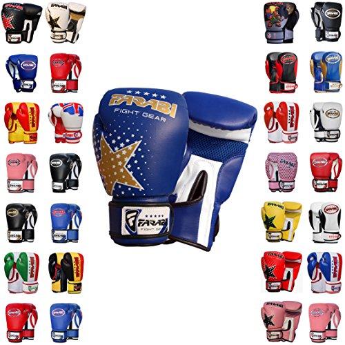 Farabi Boxing Gloves Kids Junior Muay Thai Kick Boxing Training MMA Punching Bag (6OZ, Blue Star)