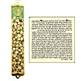 Talisman4U Green Ivory Enamel MEZUZAH CASE with Scroll Hebrew Parchment Menorah Judaica Door Mezuza Made In Israel 9 cm