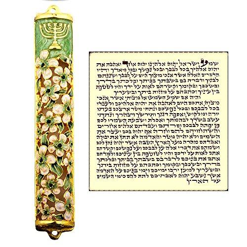 Talisman4U Green Ivory Enamel MEZUZAH CASE with Scroll Hebrew Parchment Menorah Judaica Door Mezuza Made In Israel 9 cm
