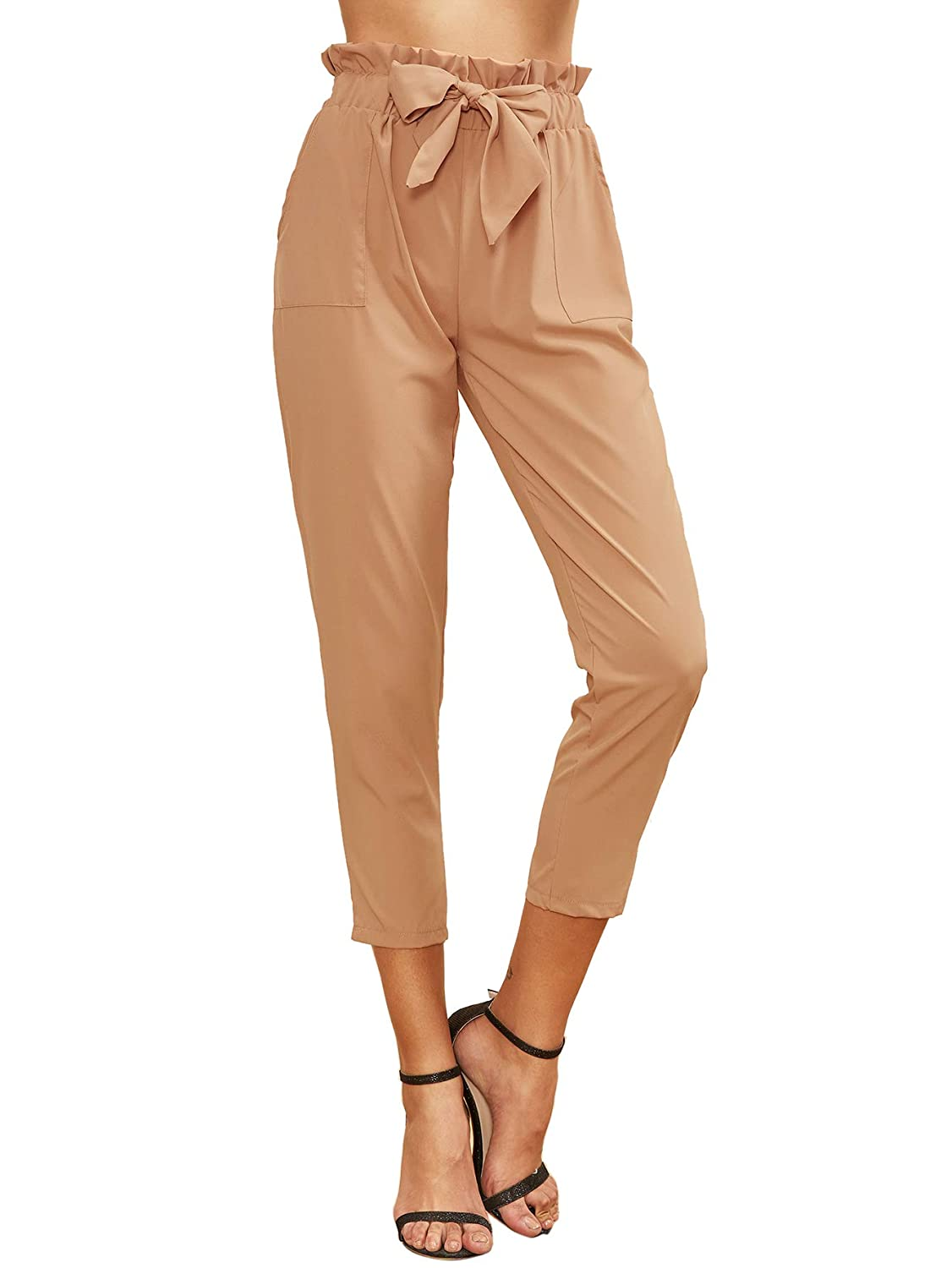1pink SweatyRocks Women's Elastic Belted High Waist Casual Loose Long Pants with Pocket
