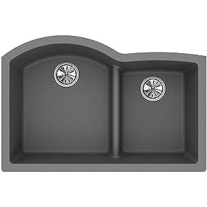 Elkay Quartz Classic ELGHU3322RGS0 Greystone Offset 60/40 Double Bowl Undermount Sink with Aqua Divide