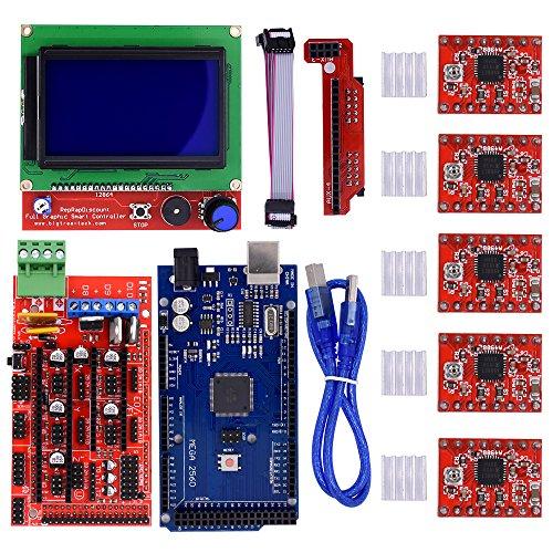 BIQU Mega2560 Control Board + LCD 12864 Graphic Smart Display Controller Module + Ramps 1.4 Mega Shield+A4988 Stepstick Stepper Motor Driver with Heat Sink for 3D Printer Arduino Reprap by BIQU