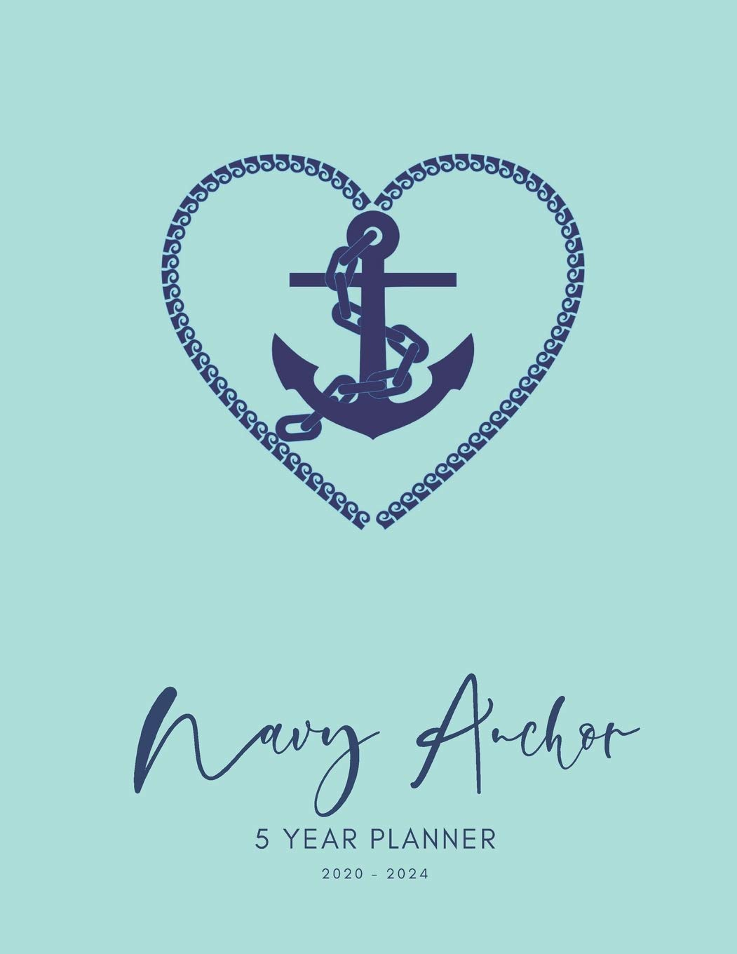 2020-2024 Five Year Planner Monthly Calendar Navy Anchor ...