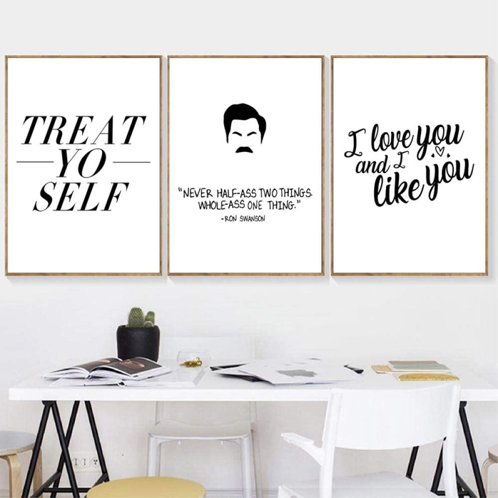 Ron Swanson Quotes Canvas Art Prints Black White Poster ...