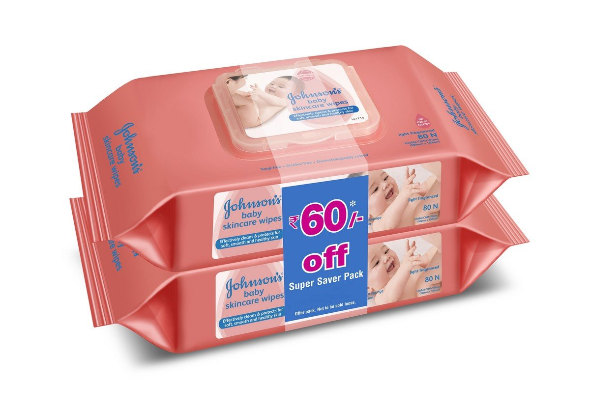 Johnson's Baby Wipes, Pack of 2 (160 Wet Wipes) product image