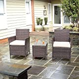 Homall Patio Furniture Bar Set Patio Table and Chairs Set Outdoor Furniture Cushioned Tempered Glass (PE Rattan Brown)