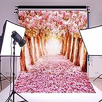MOHOO Photography Backdrop Cherry Blossoms/Sakura Flower Street Wedding Spring Photo Video Props 5X7FT Silk