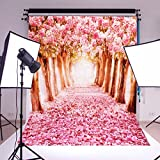 (US) MOHOO Photography Backdrop Cherry Blossoms/Sakura Flower Street Wedding Spring Photo Video Props 5X7FT Silk