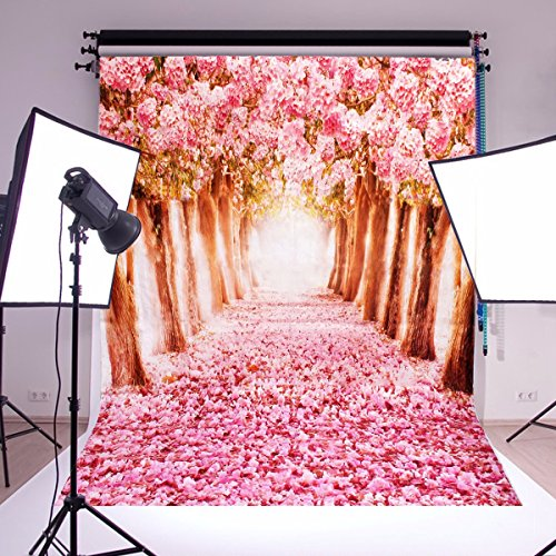 MOHOO Photography Backdrop Cherry Blossoms/Sakura Flower Street Wedding Spring Photo Video Props 5X7FT Silk by MOHOO