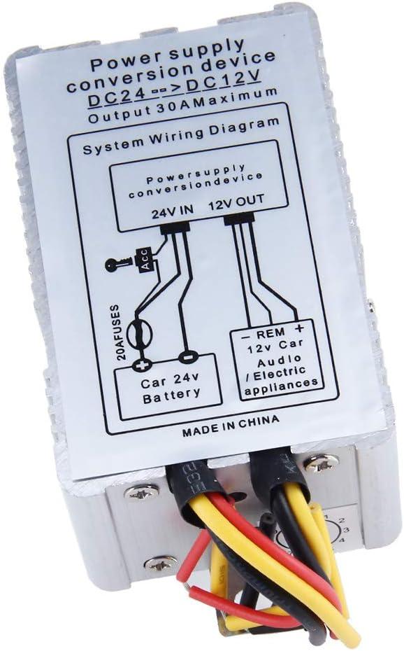 Baoblaze Convertidor de Coche Transformador de Voltaje 24V a 12V Corriente Salida de 30A/20A/15A/10A/5A - 5A