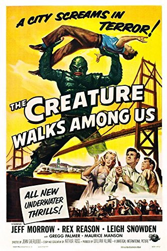 The Superficial Walks Among Us Don Megowan (As 'The Creature') Holding Up Jeff Morrow; Bottom Right From Left: Leigh Snowden Jeff Morrow Rex Reason 1956 Placard Art Movie Poster Masterprint (11 x 17)
