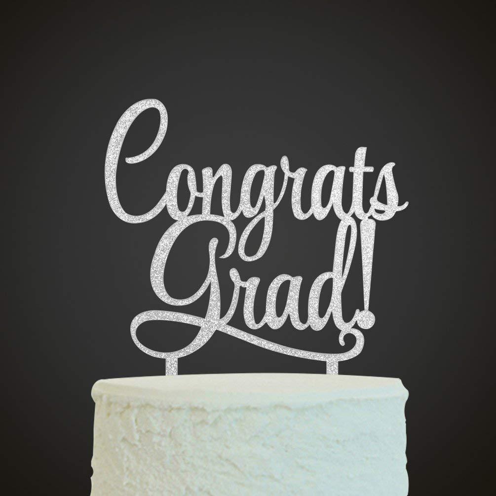 KISKISTONITE Congrats Grad Cake Topper - Class of 2018 Graduate Party Decorations Supplies - High School Graduation, College Graduate Cake Topper,Silver Special Event