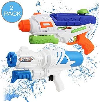 deAO Pistolas de Agua Conjunto de 2 Diseños con Tanque de Reserva ...