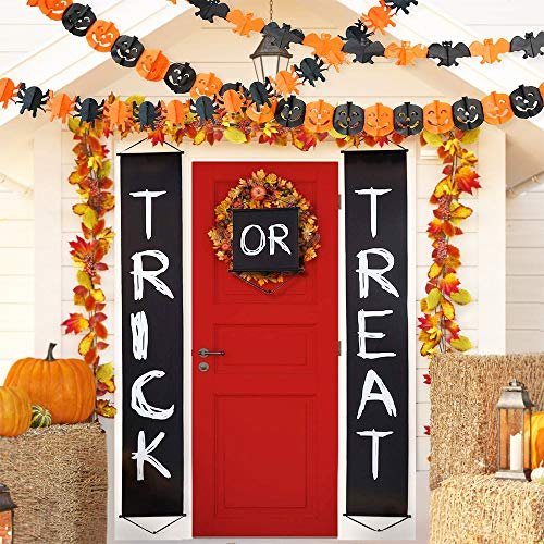 1Set Trick Or Treat Banner Polyester Trick or Treat Halloween Banner Fit Halloween Outdoor Office Home Hanging Signs Ready to Welcome Kids Halloween Trick Or Treat Decorations ()