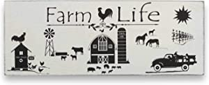 AvalonSkies Farm Decor Wall Decorations for Living Room Rustic Kitchen Farmhouse Signs Rooster Chicken Cow Pig Goat Horse Barn (6 X 16 Inches) - Wood Plaque Country Farm Animals Art for Any Home