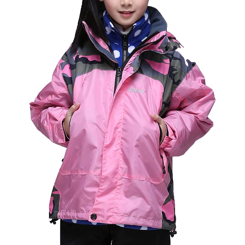 Kid's 3 in 1 Interchange Windproof Ski Jacket Warm Mountain Snow Jacket for Rain Outdoor Hiking (XS,Pink)