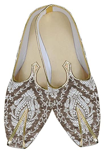 Mens Silver Wedding Shoes Brown Design MJ0048
