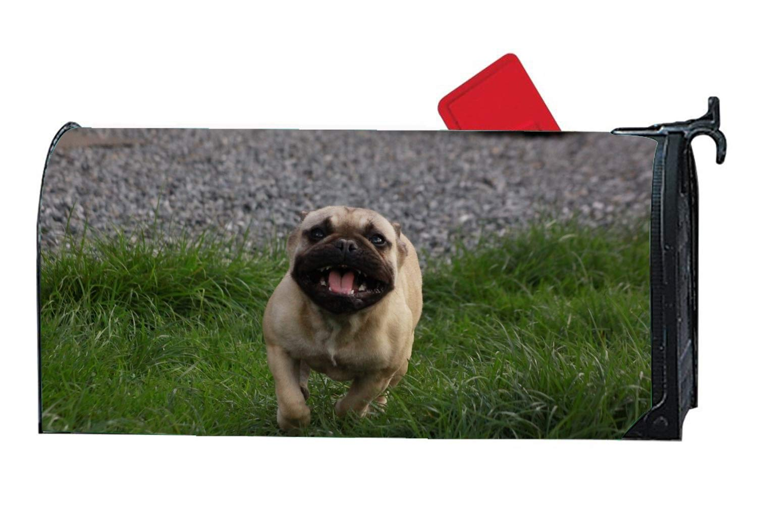 WilBstrn Dog Running Personalized Mailbox Cover Magnetic Fits Standard-Sized Mailboxes