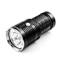 Powerful Flashlight, BLF Q8 5000 Lumen Compact Searchlight, UI Configurable, 4 XPL Led Professional Tactical Light, Use Four 18650 Button Top Battery (Not Included)