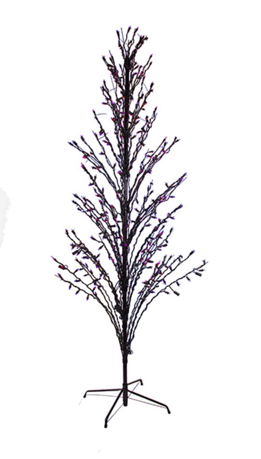 LB International LED Lighted Halloween Cascade Twig Tree Outdoor Yard Art Decoration, 6' , Purple