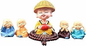 TATEELY 5 Pcs Cute Monks Car Interior Display Decoration Dashboard Ornament Figurine Buddha Home Decor Gift