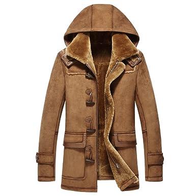 8fc5ec280 LINAILIN Mens Sheepskin Fur Coat Fashion Shearling Hooded Outerwear Genuine  Leather Parka (XS, Brownish