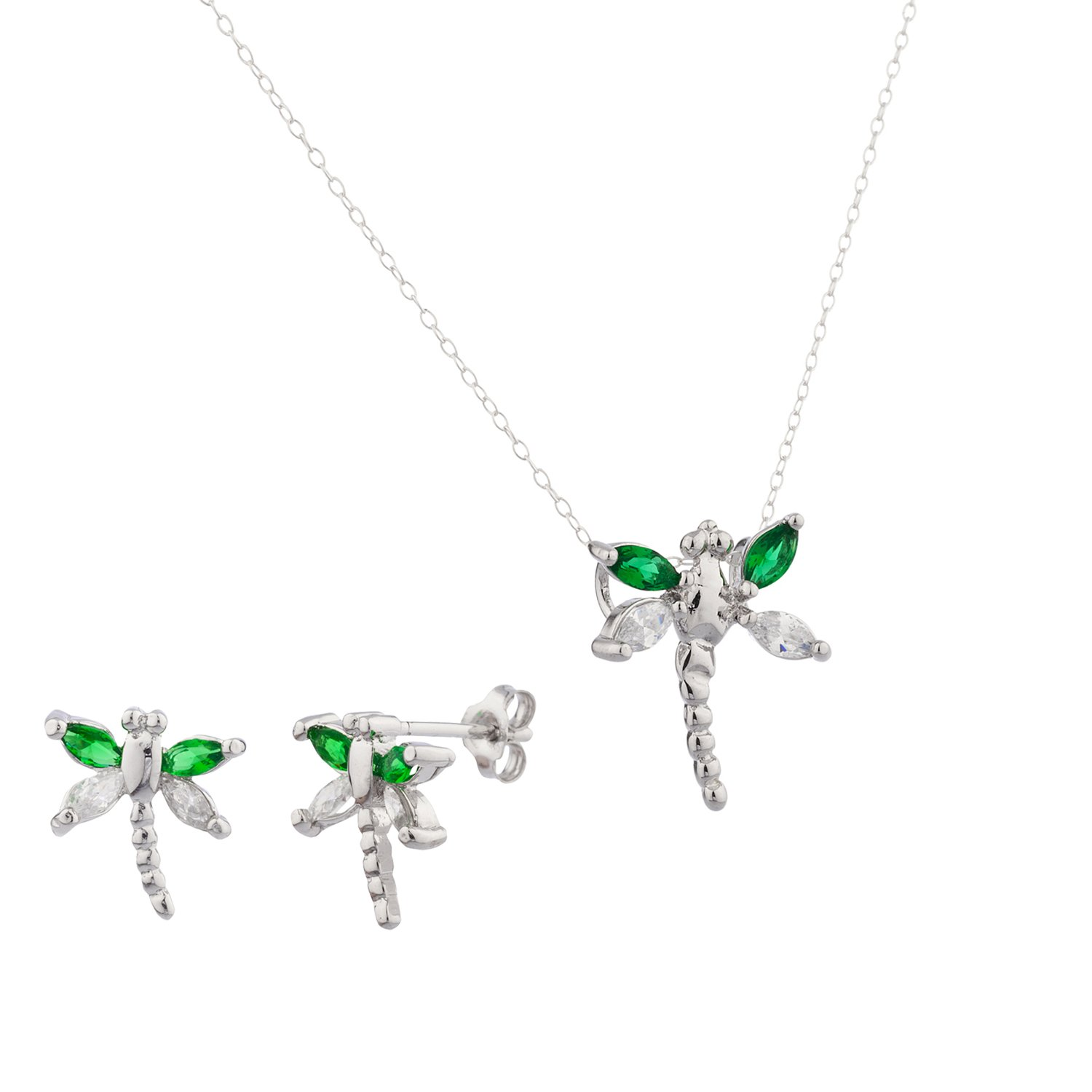 New 925 Sterling Silver Emerald Dragonfly Cz Stones Earrings & Matching Pendant w/ 18