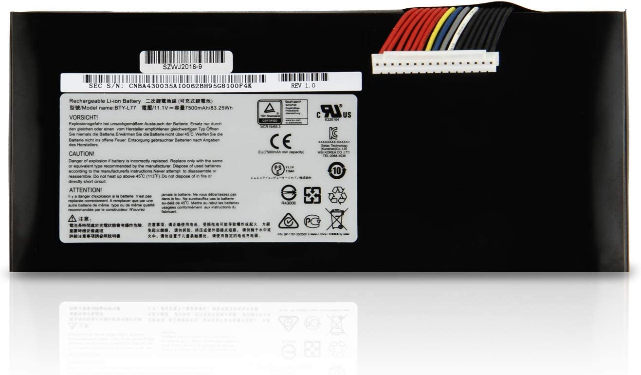 FLIW BTY-L77 Replacement Battery Compatible with MSI GT72 2QD GT72S 6QF GT80 2QE Series WT72 MS-1781 MS-1783 2PE-022CN 2QD-1019XCN 2QD-292XCN 11.1V 83.25Wh