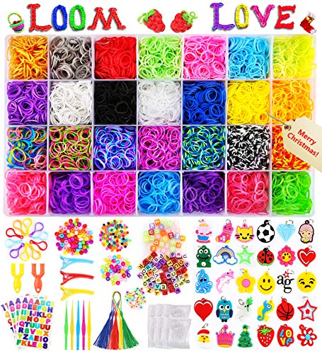 12,000+ Loom Rainbow Rubber Bands Refill Kit, 11,000 Loom Bands, 600 S-Clips, 52 ABC Beads, 30 Charms, 10 Backpack Hooks, 240 Beads, 5 Tassels, 5 Crochet Hooks, 3 Hair Clips, ABC Stickers by Parhlen