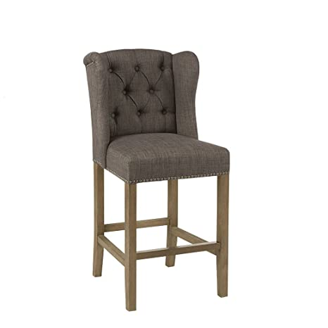 Excellent Madison Park Jodi Bar Stools Hardwood Birch Faux Linen Kitchen Stool Charcoal Brown Modern Classic Style Bar Height Stools 1 Piece Button Gamerscity Chair Design For Home Gamerscityorg