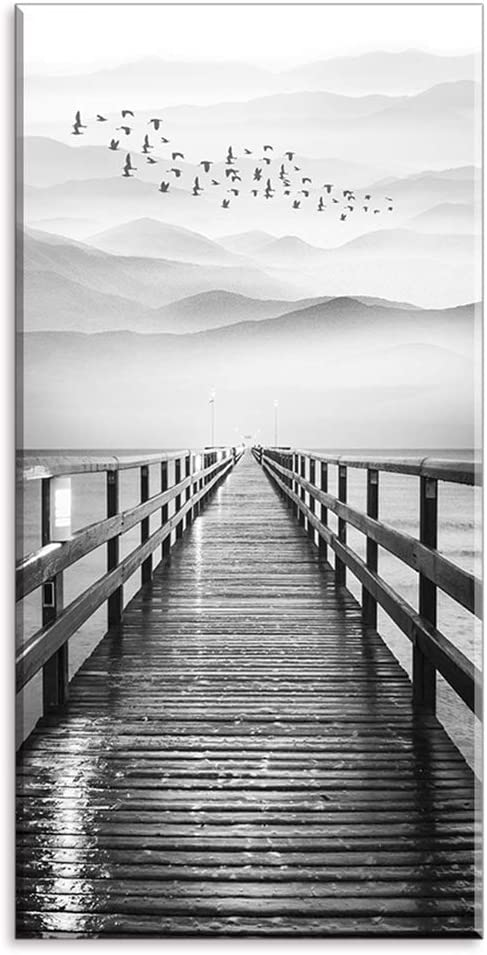 "Lake Wall Art for Aisle Corridor, PIY Black and White Pier with Birds Flying Canvas Prints Decor, Vertical Calm Wharf Mountain Landscape (1"" Thick Artwork, Waterproof, Bracket Mounted Ready to Hang)"