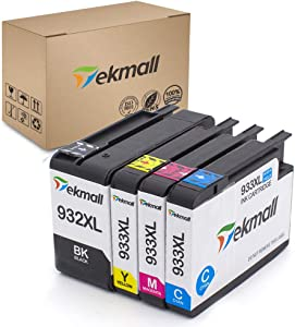 Tekmall Compatiable Ink Cartridges Replacement for 932XL 933XL 932 933, Work with Officejet 6600 6700 7612 6100 7610 7110 7510 7512 Printers 4 Pack