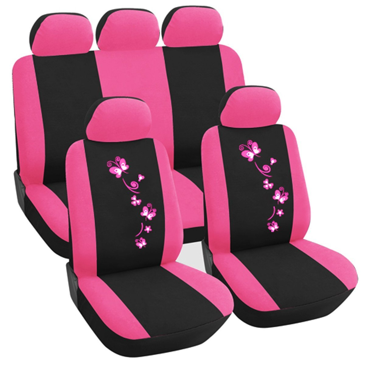 WOLTU AS7252 Universal Black Pink Car Seat Covers 5 Sets Fit Deluxe