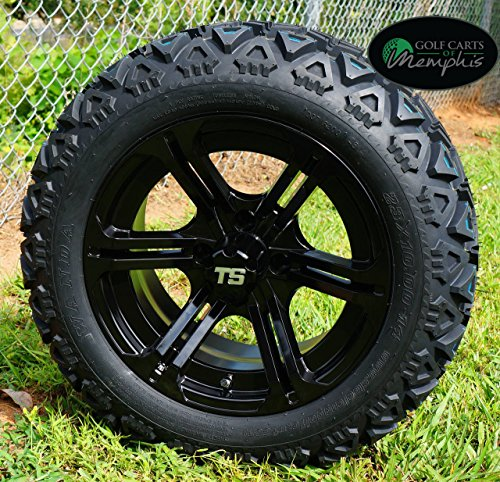 14 golf cart wheels and tires combo set of 4 black w all terrain tires get affordable prices. Black Bedroom Furniture Sets. Home Design Ideas