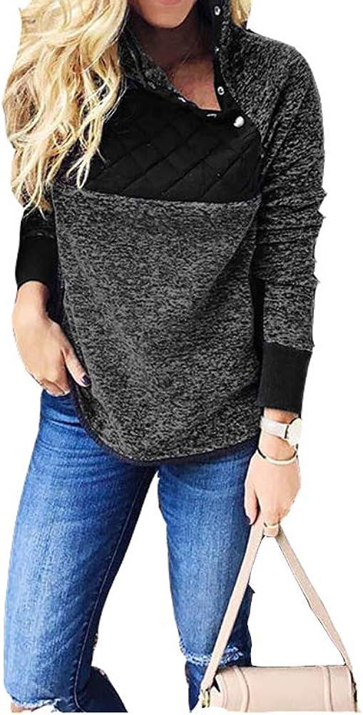 Tsun Women Fleece Sweatshirt Button Splice High Neck Sweater Pullovers
