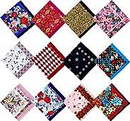 MENDENG Bandanas Cotton Paisley Scarf Wristband Headbands Handkerchiefs 12pcs